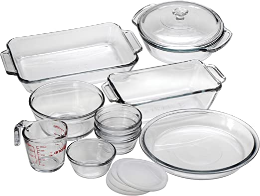 Anchor Hocking Oven Basics 15-Piece Glass Bakeware Set with Casserole Dish, Pie Plate, Measuring Cup, Mixing Bowl, and Custard Cups with Lids - ...