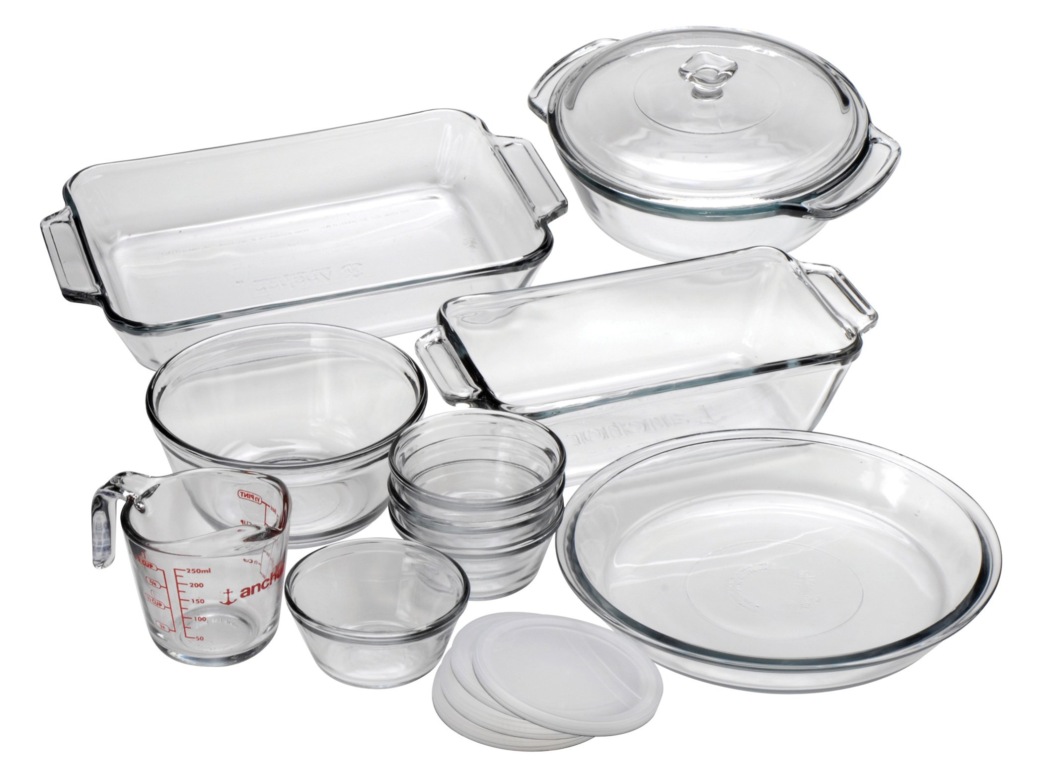 Anchor Hocking Oven Basics 15-Piece Glass Bakeware Set with Casserole Dish, Pie Plate, Measuring Cup, Mixing Bowl, and Custard Cups with Lids