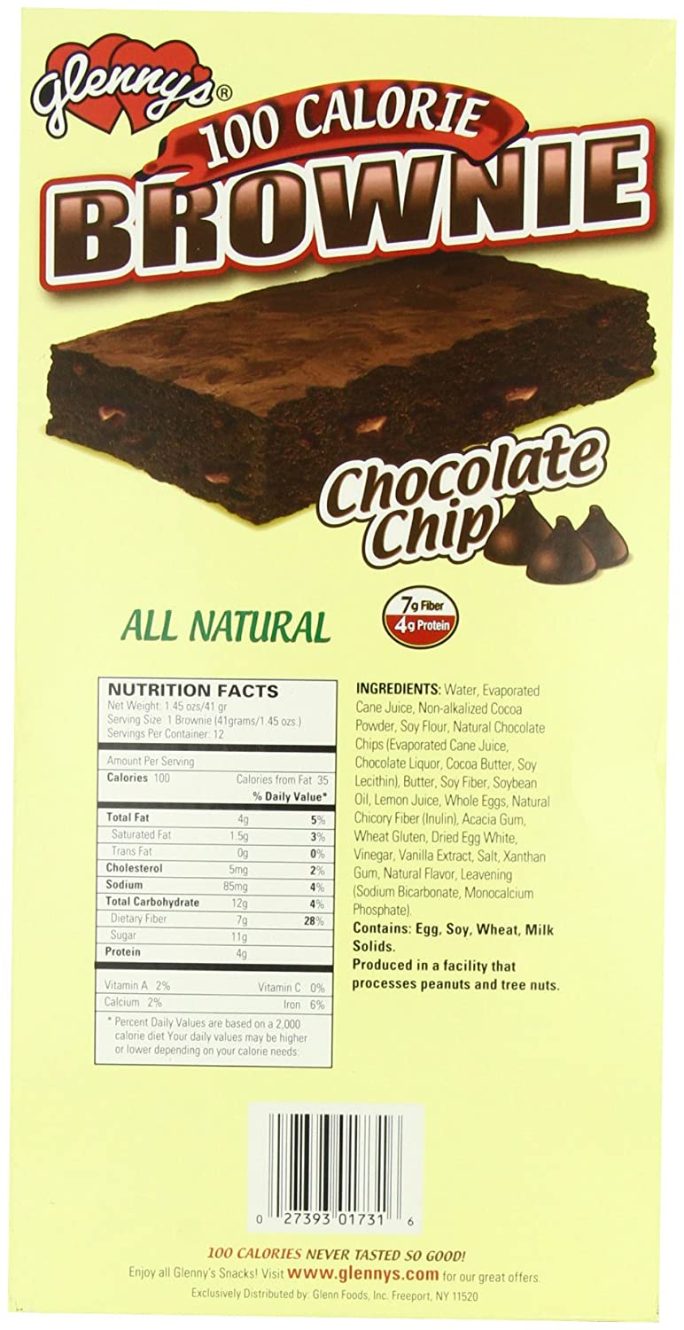 Glenny's Brownies 100 Calorie, Natural, Chocolate Chip, 1 45 Ounce Bags  (Pack of 12)