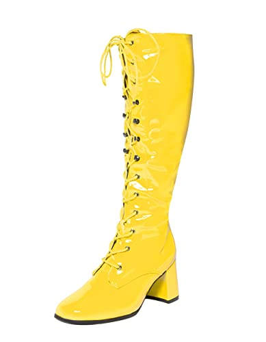 370a878dd0e Yellow Knee High Lace Up Eyelet Boots  Amazon.co.uk  Shoes   Bags