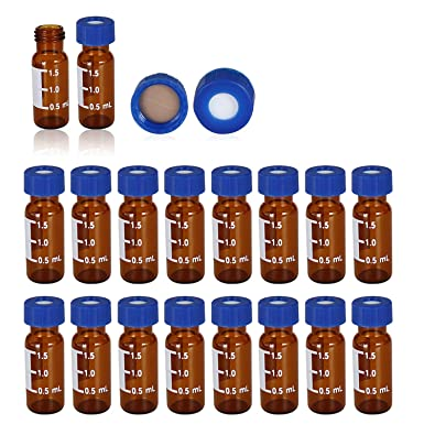 2ml Vial with Write-on Spot Autosampler Vial 2mL 9-425 Clear 9mm Blue Cap with pre-Slit PTFE and Silicone Septa with Writing Area and Graduations 100pcs//pk , Clear /& Pre-slit silicone septa