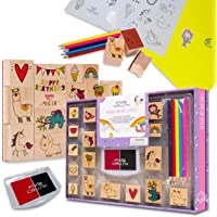 PixieCrush Wooden Stamp and Sticker Activities with Unicorns, Llamas, Kitty Cats, Puppies, Narwhal, and Rainbows. Arts…