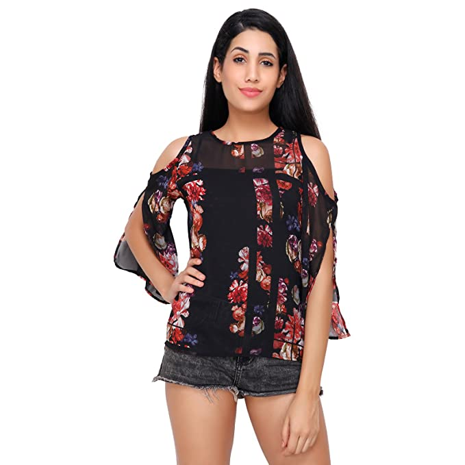 be4cc7208ca773 Stylesland Women s Georgette Floral Printed Cold Shoulder Top (Multicolour