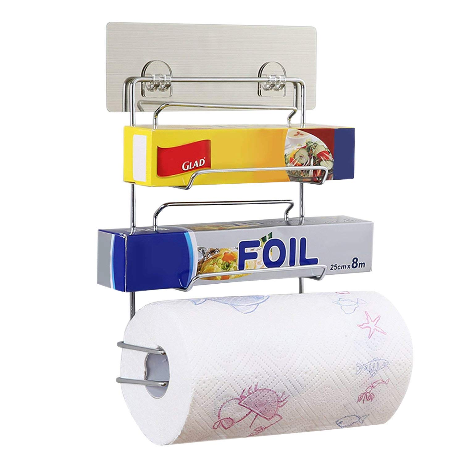 Kitchen Roll Holder 3 In 1 Wall Mounted Storage Rack Catering Aluminum Foil Cling Film Wrap Wax Paper Stand Tissue Roll Dispenser Self