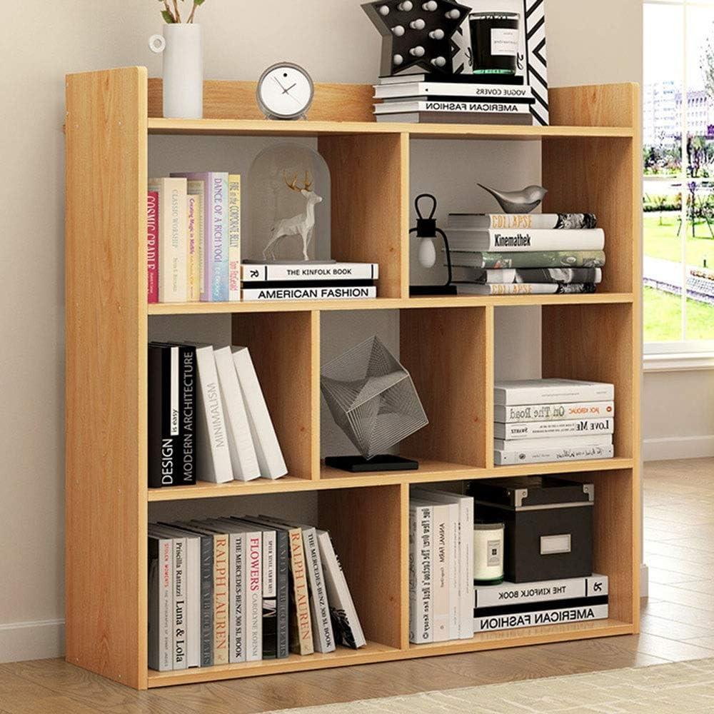本棚 シンプルでモダンな木製本棚ディスプレイスタンド用ホームオフィス本コレクションリビングルーム子供のおもちゃルーム寝室組み立てが簡単 コンパクトな多目的棚 (Color : Walnut, Size : 90x80x17cm)