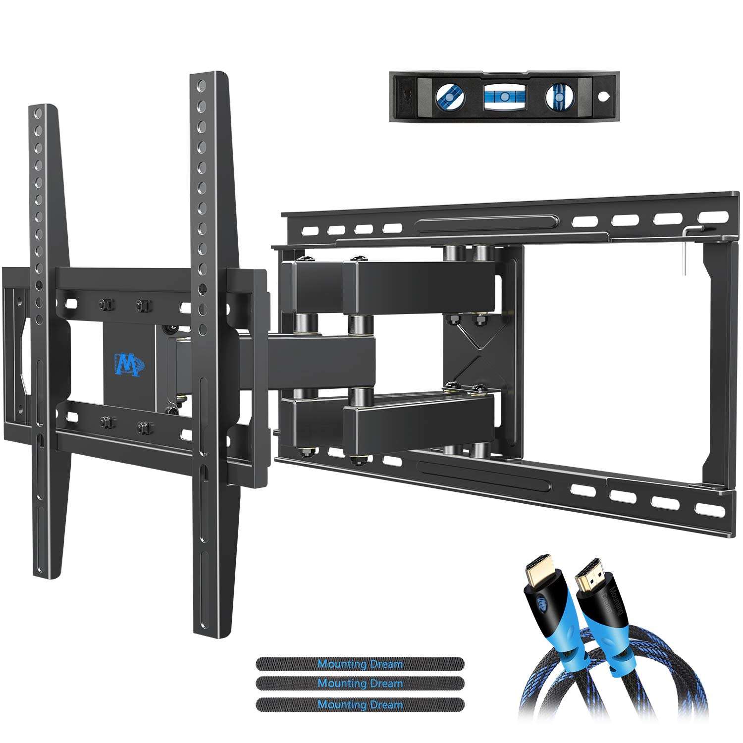 Mounting Dream TV Mount Full Motion TV Wall Mounts for 26-55'', Some up to 65'' LED, LCD Flat Screen TV, Wall Mount Bracket up to VESA 400 x 400mm 99 lbs. Fits 16'', 18'', 24'' Wood Studs MD2380-24 by Mounting Dream