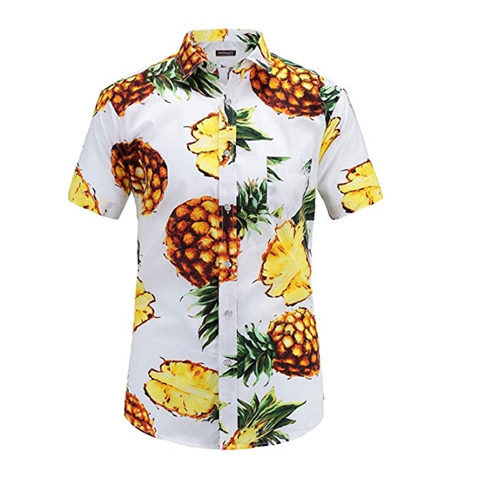 e0848743 Image Unavailable. Image not available for. Color: Sonjer Hawaiian Shirt  Print Short Sleeve Men ...