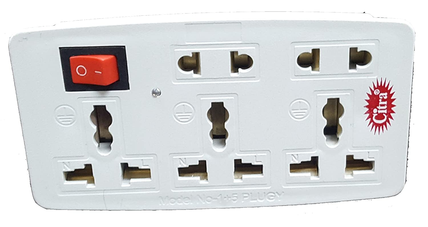 Multiplug 1 switch and 5 sockets with indicator
