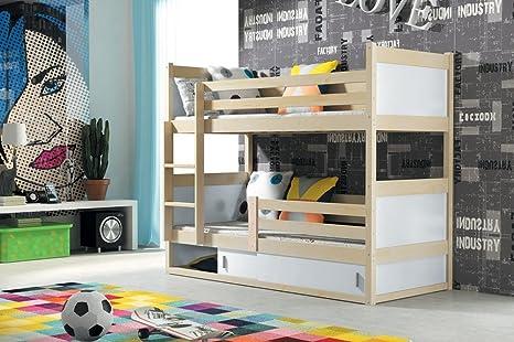 Interbeds Cama litera Infantil Rico 160/80 en Color Pino + colchones + somieres