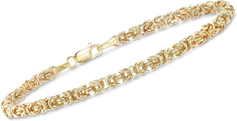 Image of Ross-Simons Italian 14kt Yellow Gold Byzantine Bracelet With Rolled Edges Bracelets Ross-Simons B0747KB7M9