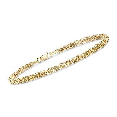 43e344d5120f36 Amazon.com: Ross-Simons Italian 14kt Yellow Gold Byzantine Bracelet With  Rolled Edges: Jewelry