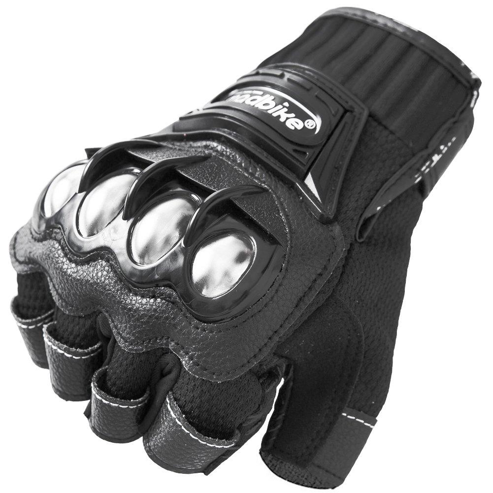 Motorcycle Fingerless Gloves,Dirt Bike Motocross Motorbike Power Sports Racing Gloves Steel Reinforced Knuckle (Black,M)