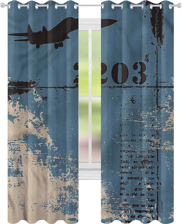 jinguizi Cortinas para dormitorio Grunge Aviation Themed Silhouette W52 x L84 Cortinas opacas para dormitorio