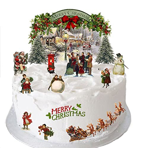 traditional vintage victorian christmas stand up scene made from edible wafer paper perfect for decorating your - Christmas Cake Decorations