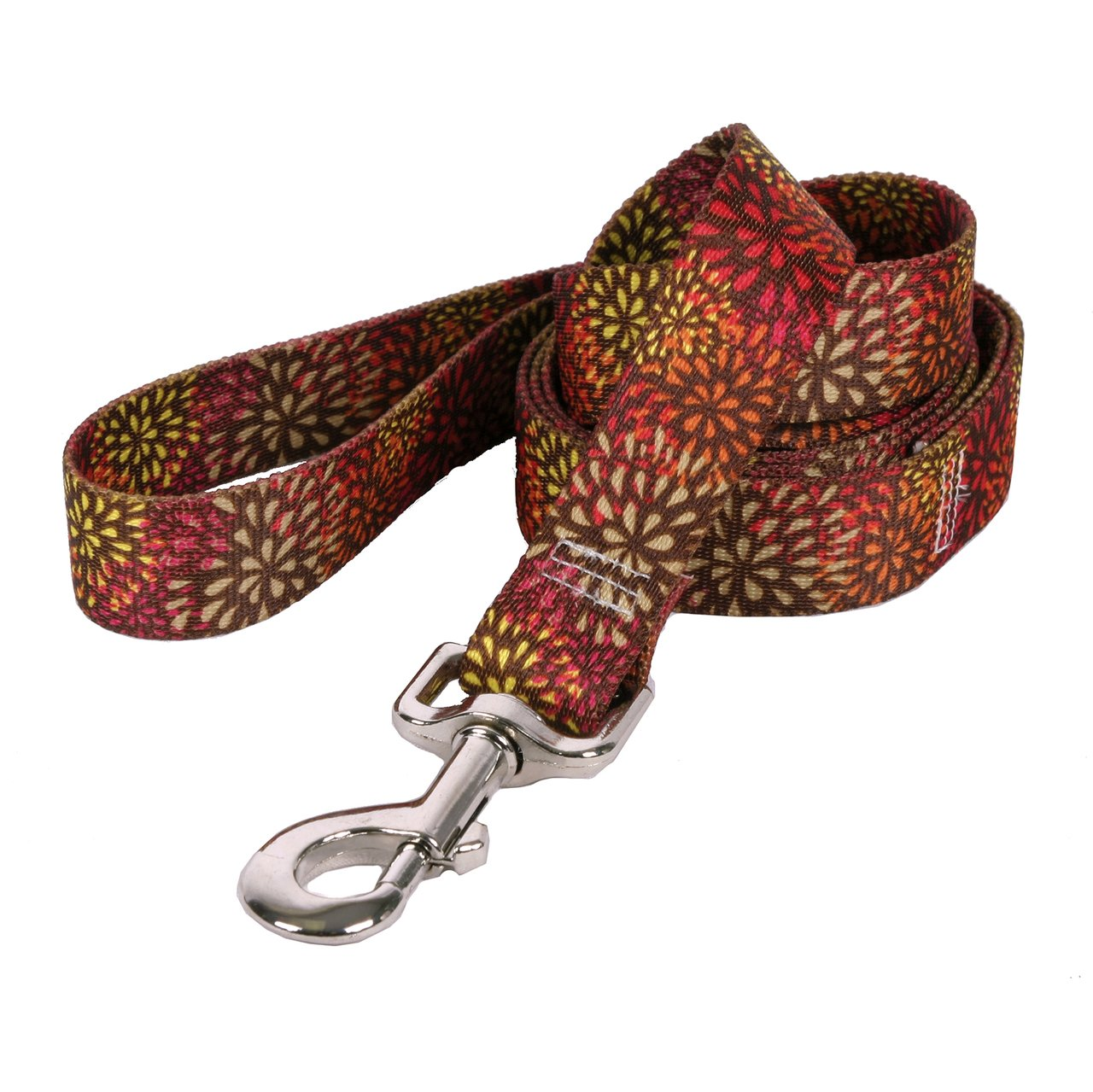 Yellow Dog Design Flower Works Red Dog Leash 3/4'' Wide and 5' (60'') Long, Small/Medium