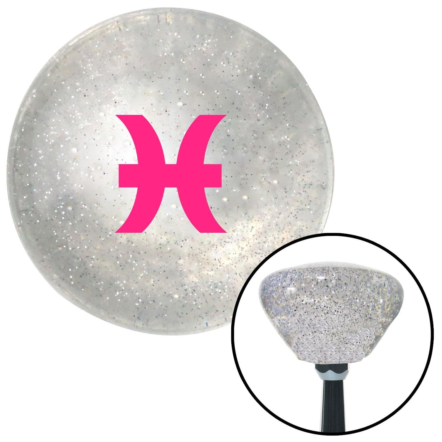 American Shifter 286080 Shift Knob Pink Pisces Clear Retro Metal Flake with M16 x 1.5 Insert