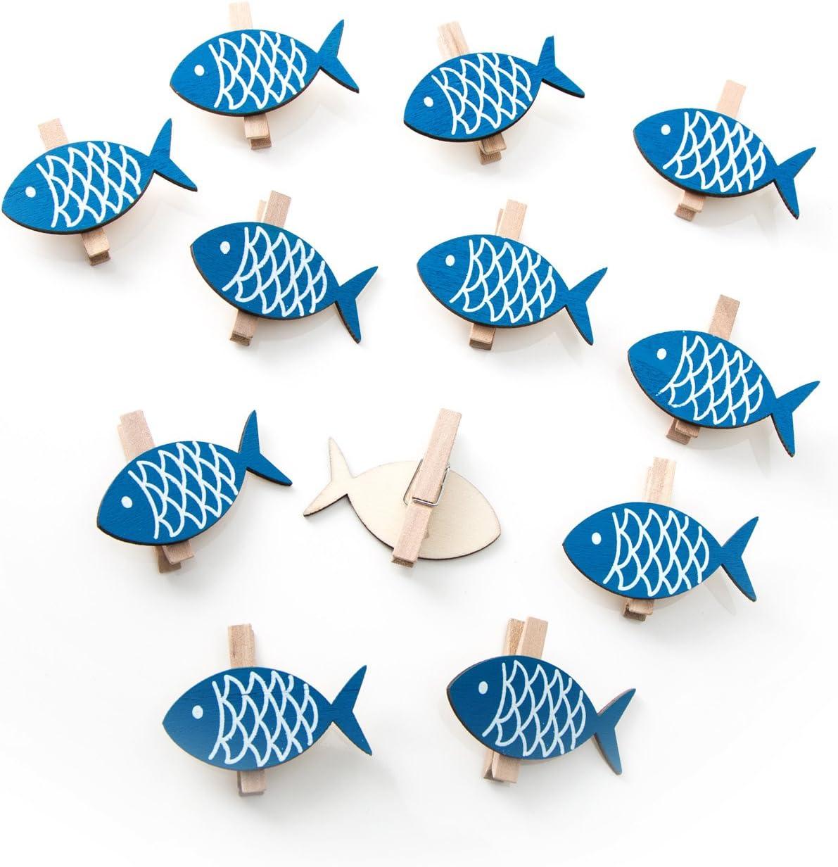 12 pezzi blu in legno - mollette decorative con pesci 5 x ...