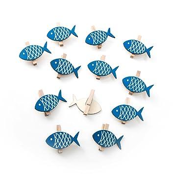 12 pieza azul madera peces Deko grapas con 5 x 2,7 cm ...