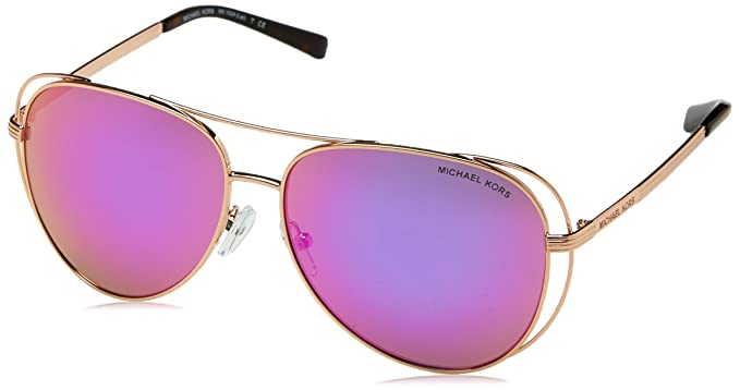 cfa9796013 Michael Kors Michael Kors Women s Lai 0MK1024 58mm Rose Gold Tone Fuchsia  Mirror Sunglasses  Amazon.in  Clothing   Accessories