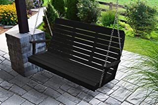 product image for Furniture Barn USA Outdoor 5 Foot Winston Porch Swing with Chain - Black Poly Lumber - Recycled Plastic