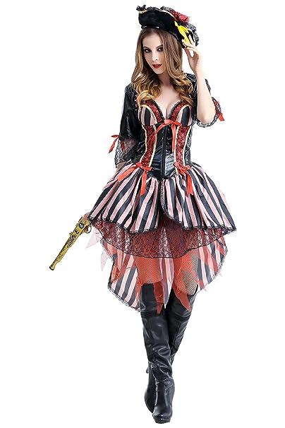 Amazon.com: obtai Halloween mujer Sexy PIRATA bucanero de ...
