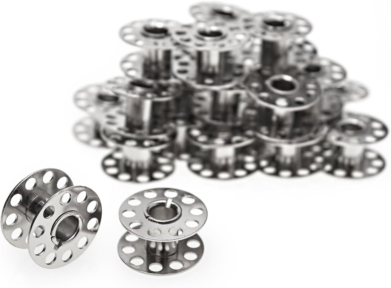25 Spulen mit Spulenbox Nähmaschine Spulen 20mm aus Kunststoff Klar