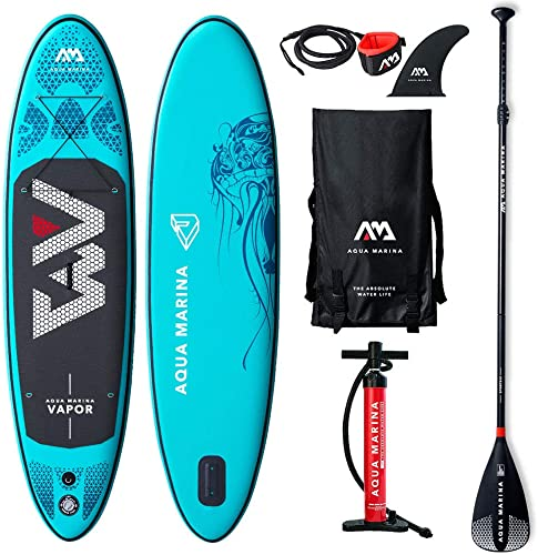 2019 Upgraded 9 10 Vapor iSUP Inflatable Paddleboard with Leash Pump Paddle and Bag – Adults and Youth Sup Deck Stand Up Paddle Boards Blow Up – 4.72 Thick 30 Wide
