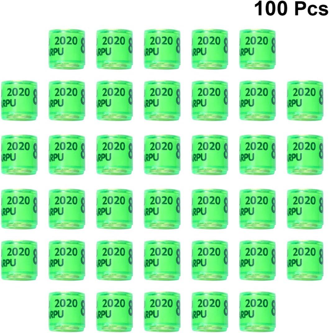 Balacoo 100 Piezas Anillos de Pie de Aves Bandas de Pierna de Loro Anillo de Pie de Paloma para Pinzón Escotilla Canaria Anillos de Aves Número Anillos de Puño Verde 2020 América