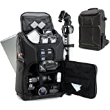 "USA GEAR Digital SLR Camera Backpack w/15.6"" Laptop Compartment features Padded Custom Dividers, Tripod Holder, Rain Cover & Storage - Compatible with DSLR Cameras by Nikon, Canon, Sony, Pentax & More"