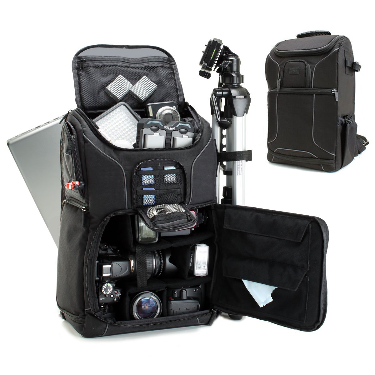 Digital SLR Camera Backpack with 15.6'' Laptop Compartment by USA Gear features Padded Custom Dividers, Tripod Holder, Rain Cover and Storage for DSLR Cameras by Nikon, Canon, Sony, Pentax & More