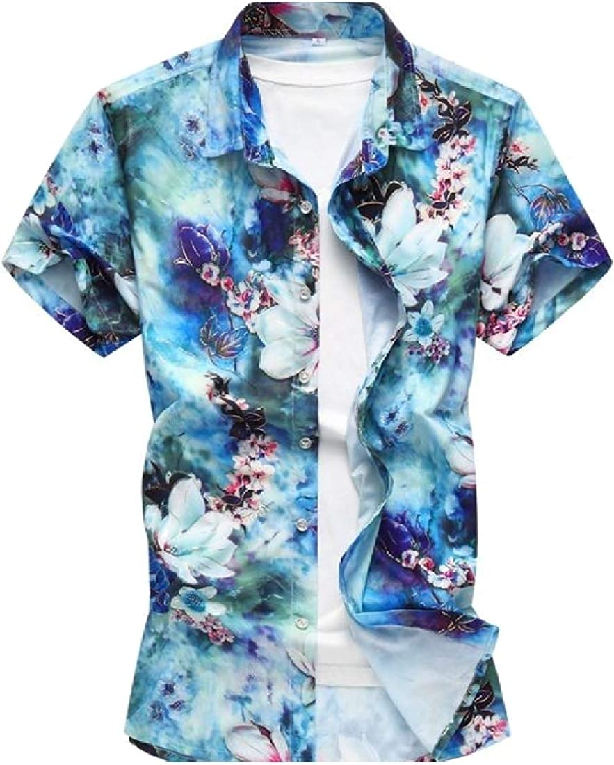 AngelSpace Mens Flattering Hawaii Business Breasted Short Sleeve Dress-Shirts