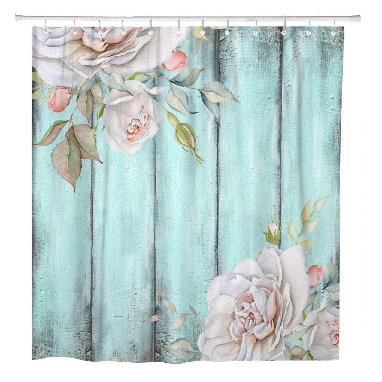 ArtSocket Shower Curtain Teal Rustic Shabby Country Chic Blue Curtains Wood Rose Home Bathroom Decor Polyester Fabric Waterproof 72 x 72 Inches Set with Hooks