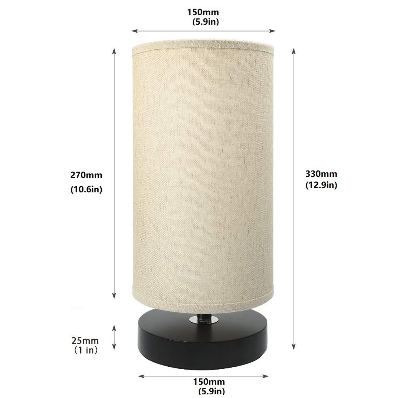 Lightess Tischlampe E27 Nachttischlampe f/ür Schlafzimmer modern vintage Schreibtischlampe Stoff Nachttisch-Leuchte Retro Nachtlicht f/ür Tisch Kinderzimmer mit EU Stecker