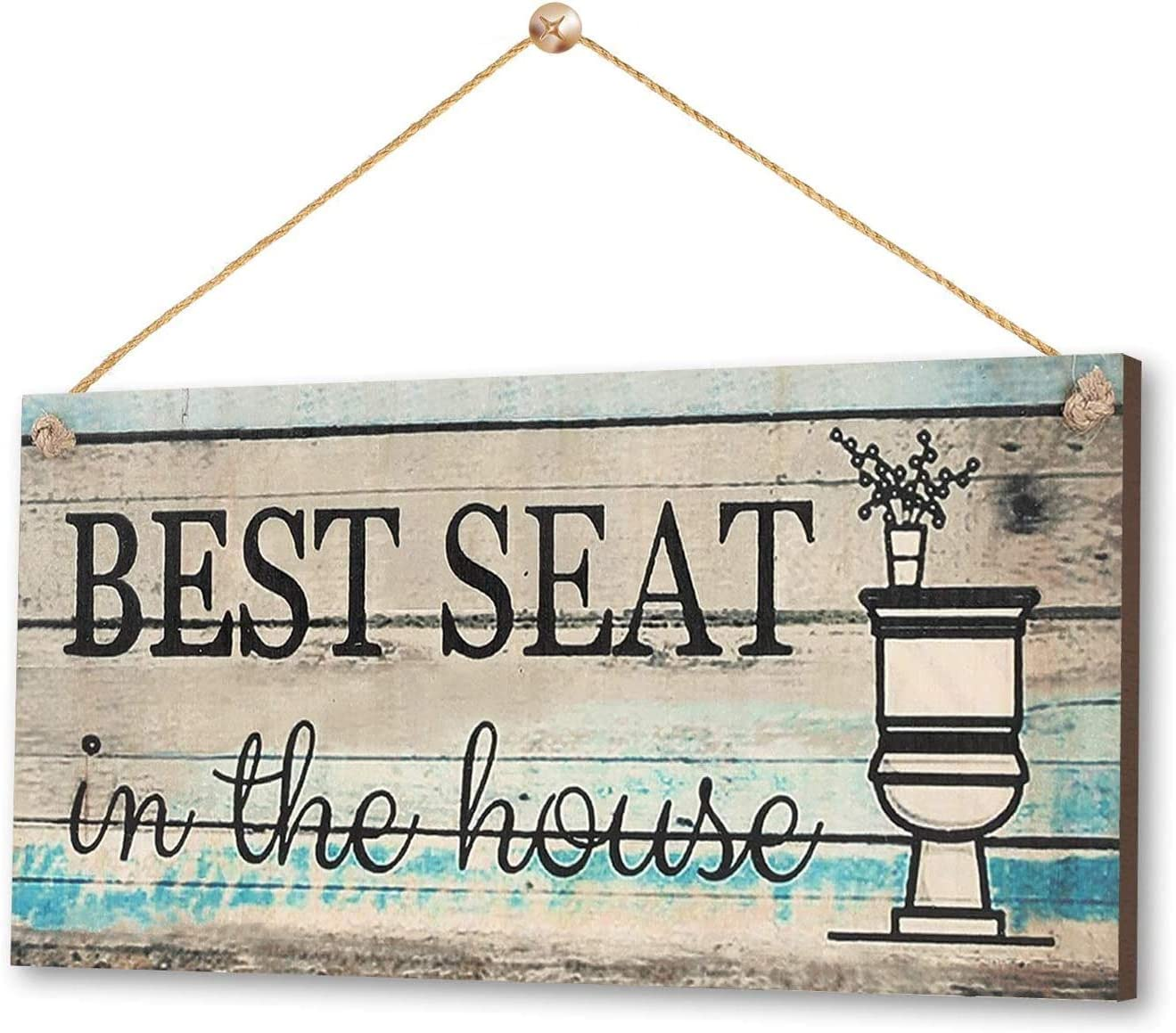 "LEJHOME Bathroom Hanging Wall Decor Sign 14"" x 7""- Printed Wood Plaque Sign - Best Seat in the House- Farmhouse Rustic Wall Decor Art for Kids Guest Bathroom Decorations"