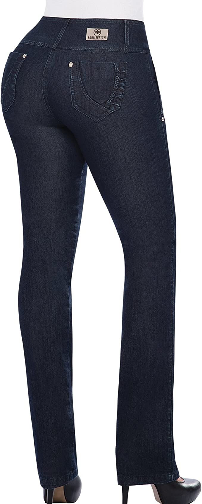 Equilibrium 100/% Colombian Boot Cut Jean for Women Mid-Rise Stretch Jean J8616
