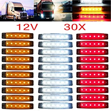 Other 2 X 12 SMD LED WHITE SIDE MARKER LIGHTS TRUCK LORRY TRAILER BUS VAN 24V