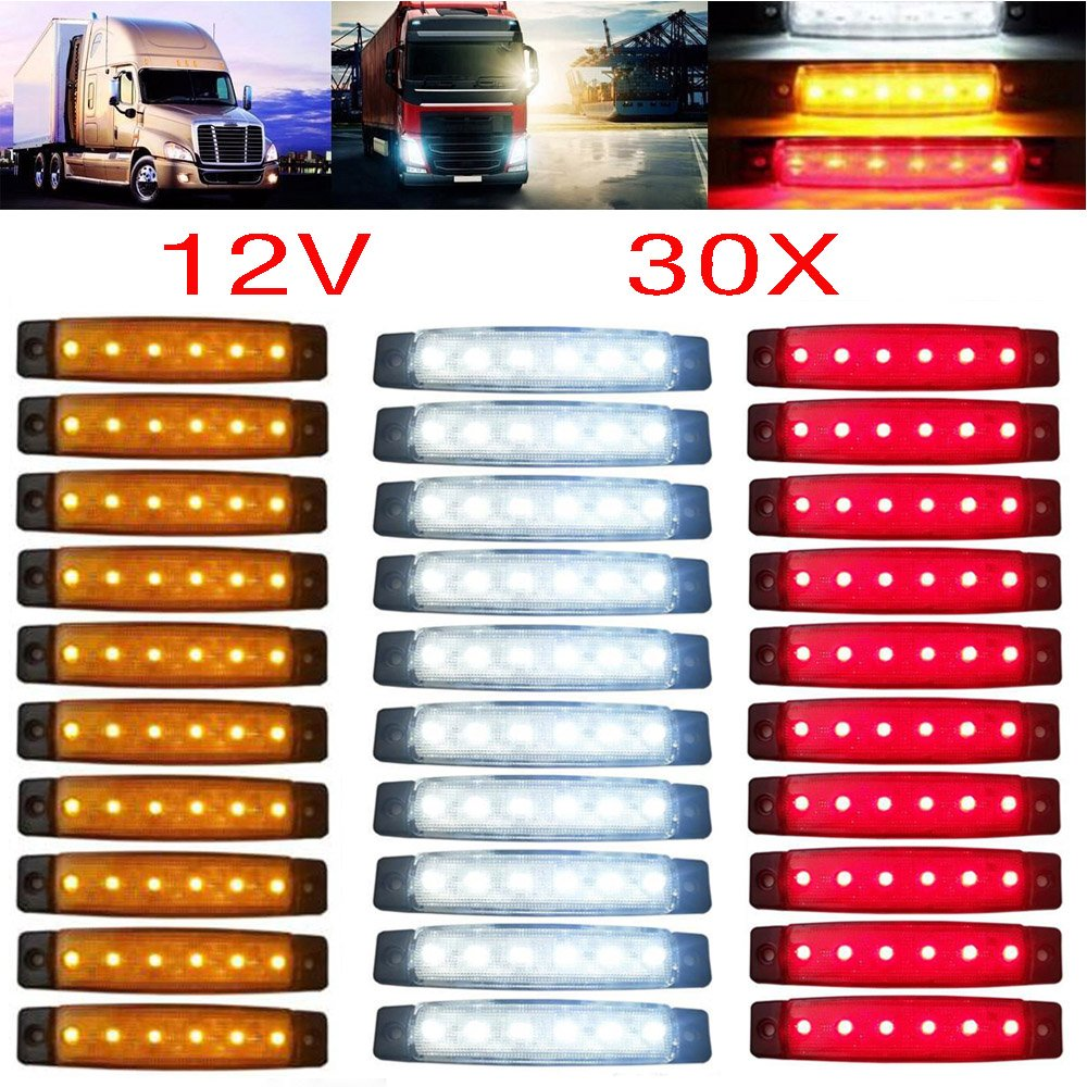 GSRECY 30pcs 12V 6 LED Red+White+Yellow Truck Trailer Side Marker Indicators Truck cab marker lights