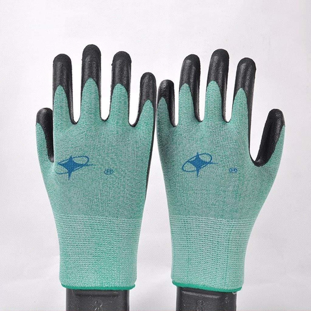 YANGBM Elastic Breathable Latex Gloves, Non-Slip Wear-Resistant Anti-stab Gardening Gloves, Suitable for Garden, Mechanical Work Gardening Gloves (Color : Green 12pair, Size : S)