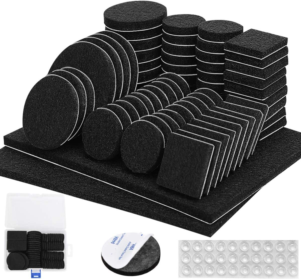 Furniture Pads Black 136 Pieces Pack Felt Furniture Pads Felt Pads 5mm Thick Anti Scratch Floor Protectors for Chair Legs Feet with Case 30 Rubber Bumpers for Hardwood Tile Wood Floor Self Adhesive