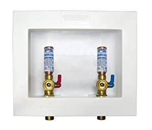 Water-Tite 85711 Econo Box Center-Drain Washing Machine Outlet Box, White Plastic, Quarter-Turn Brass Valves with Hammer Arresters, 1/2-Inch CPVC Connection