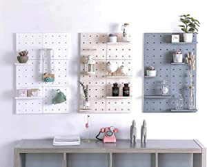 One Set of 2 Pegboard Floating Wall Shelves for Home Decor/Kitchen/Bathroom Storage and Organization, Non-Drilling (Blue)