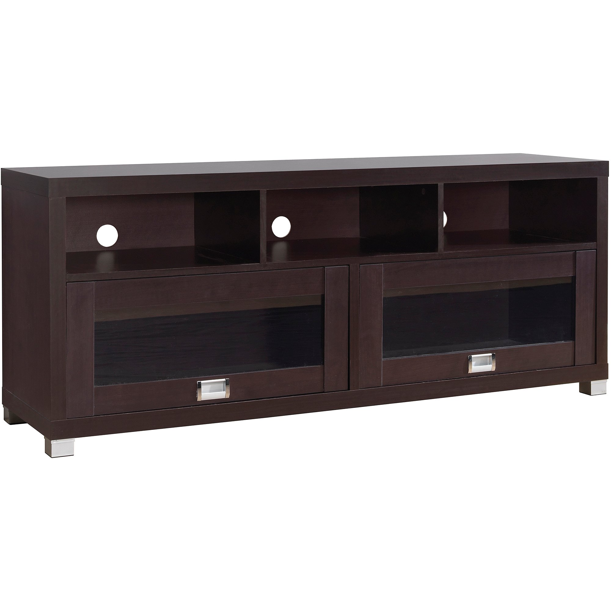 Espresso TV Cabinet for TVs up to 65 inches with 2 Glass Doors with Storage Space for Audio or Gaming Components & 3 Shelves, Living Room Furniture, Storage Cabinet, TV Stand, Entertainment Center