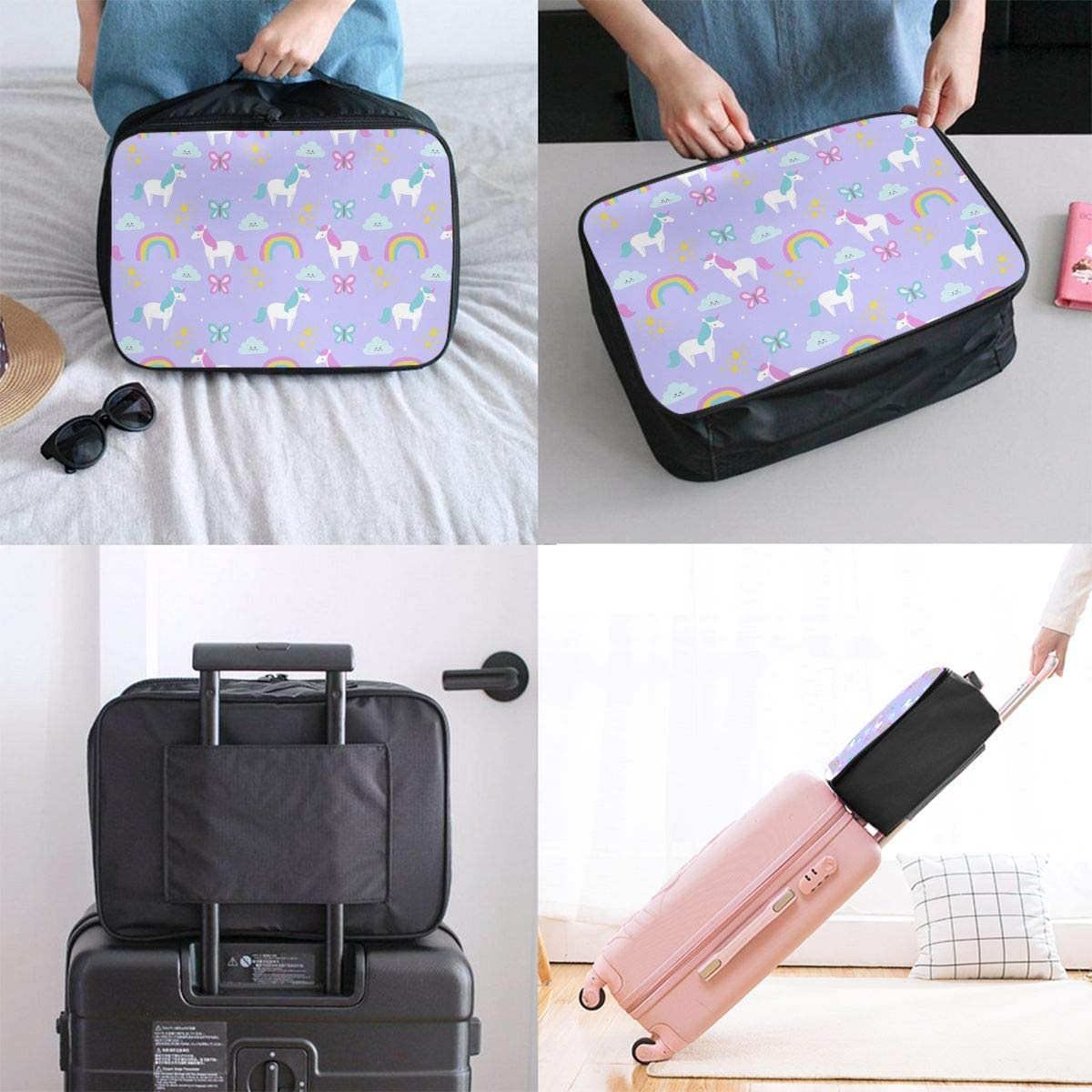 Cute Animal Colorful Unicorn Travel Carry-on Luggage Weekender Bag Overnight Tote Flight Duffel In Trolley Handle