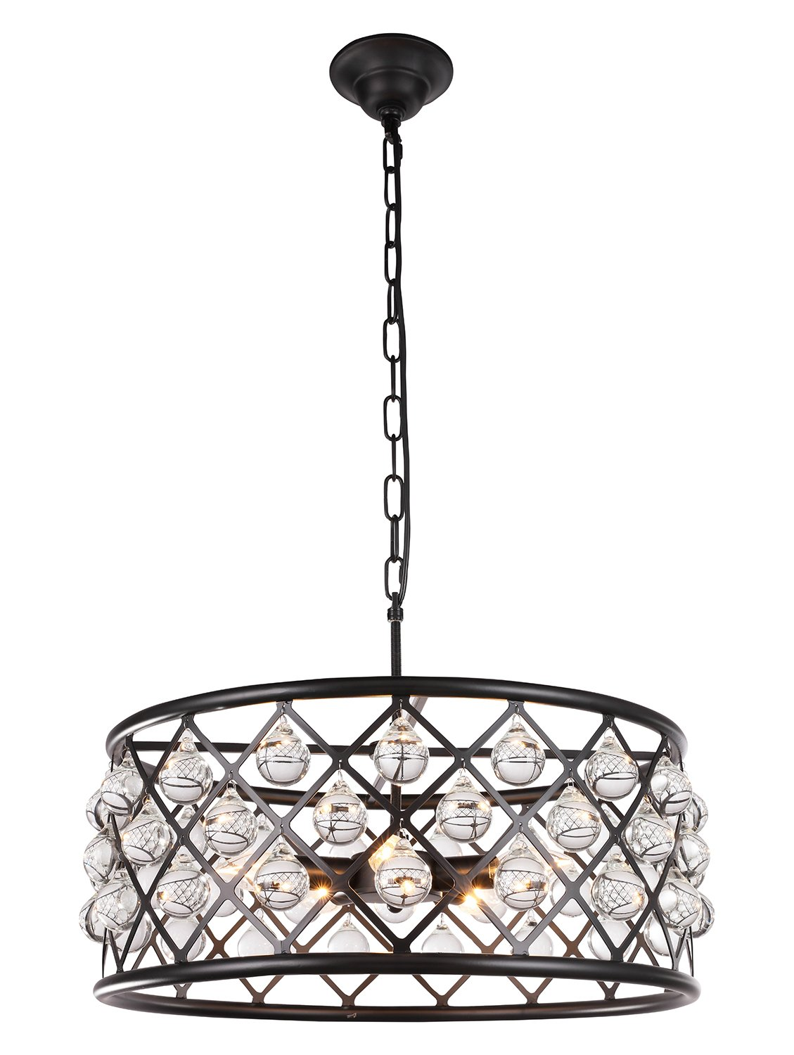 Dst Matte Black K9 Crystal Pendant Chandelier Ceiling Lighting Fixture for Living Room, Kitchen, Dining Room and so on, Φ: 50cm/19.69'',H:22cm /8.66''. Chain length: 30cm/pc, 2pcs Chain