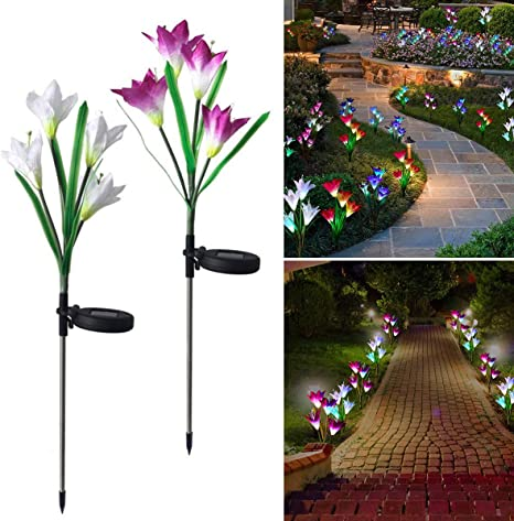2 luces solares de jardín para exteriores, con forma de flor de ...