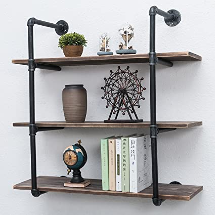 amazon com industrial pipe shelves with wood 3 tiers rustic wall rh amazon com