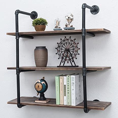 Industrial Pipe Shelves With Wood 3 Tiers Rustic Wall Mount Shelf 36 2in Metal Hung Bracket Bookshelf Diy Storage Shelving Floating Shelves