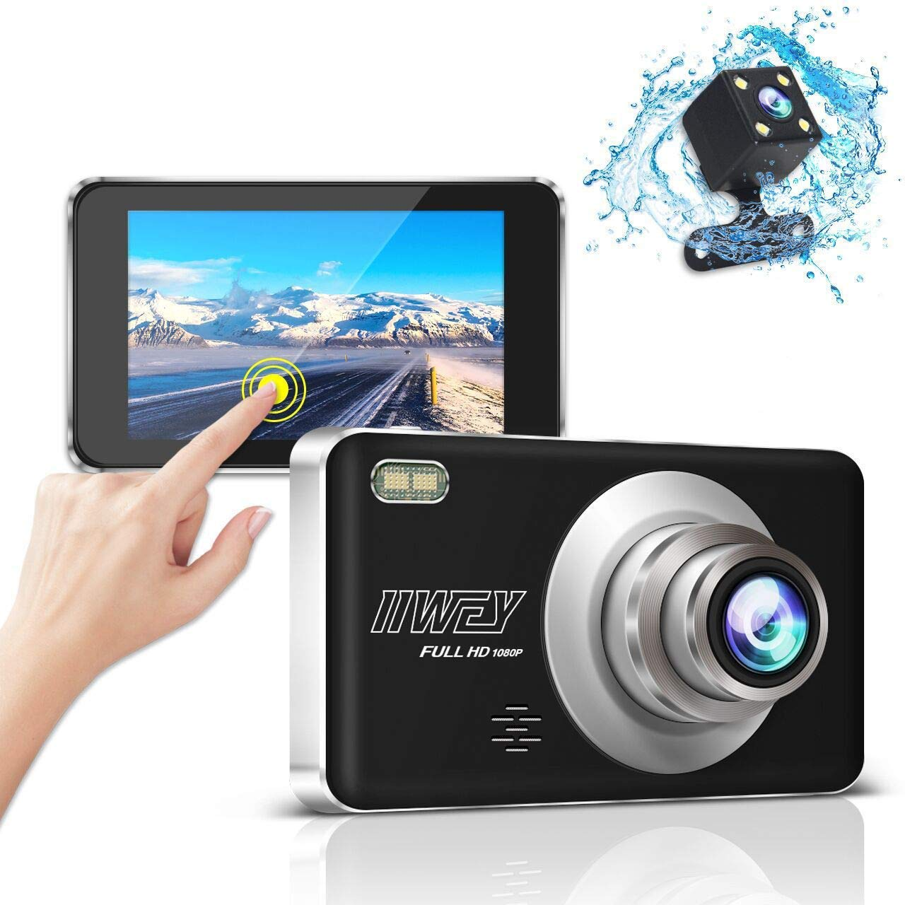 """Parking Monitor iiwey EC013 170/°Wide Angle Car Dashboard Camera 1080P FHD Car Driving Recorder with Night Vision 4/"""" IPS Touch Screen G-Sensor Dash Camera for Cars Front and Rear Loop Recording WDR"""