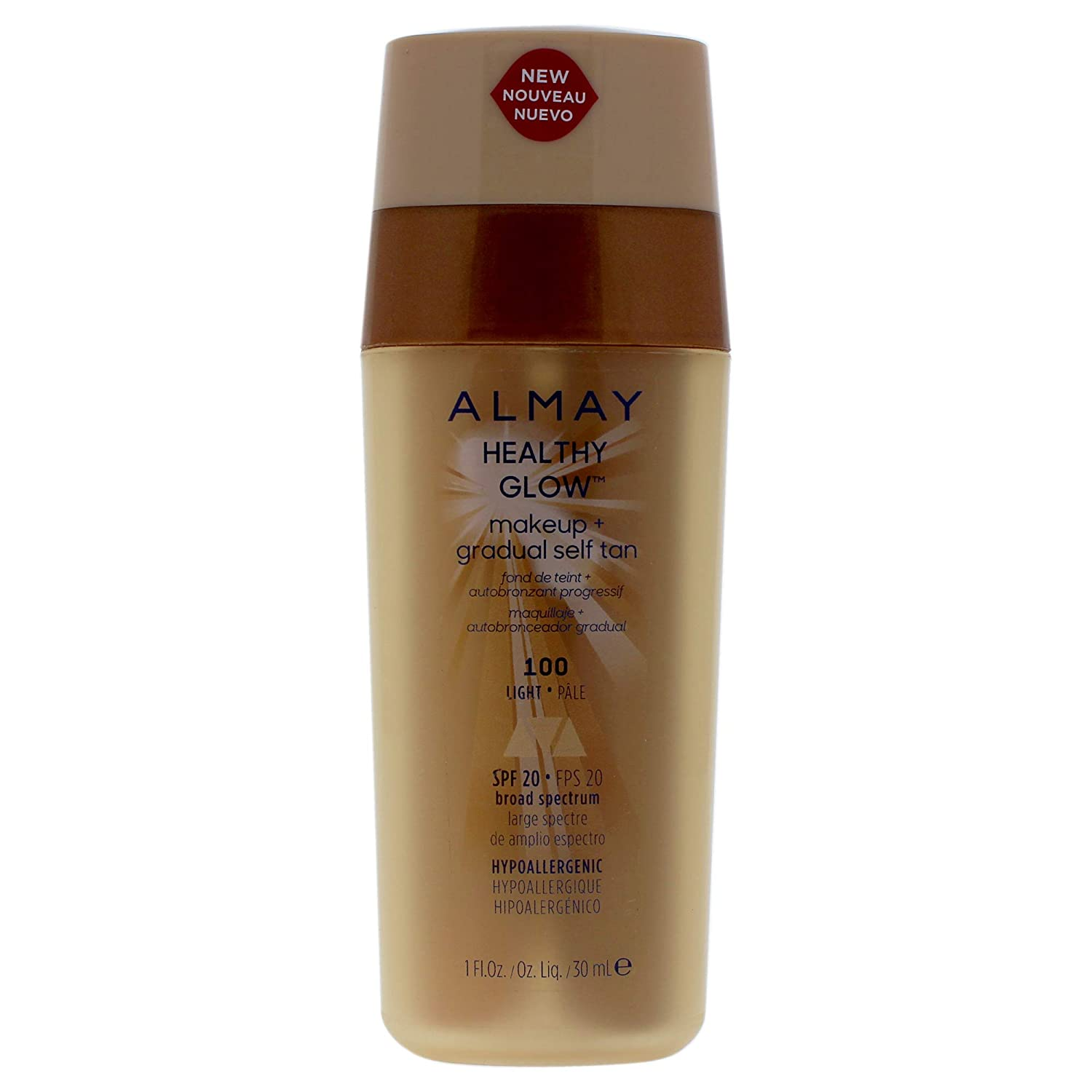 Almay Healthy Glow Makeup Plus Gradual Self Tan - 100 Light By Almay for Women - 1 Oz Foundation, 1 Oz