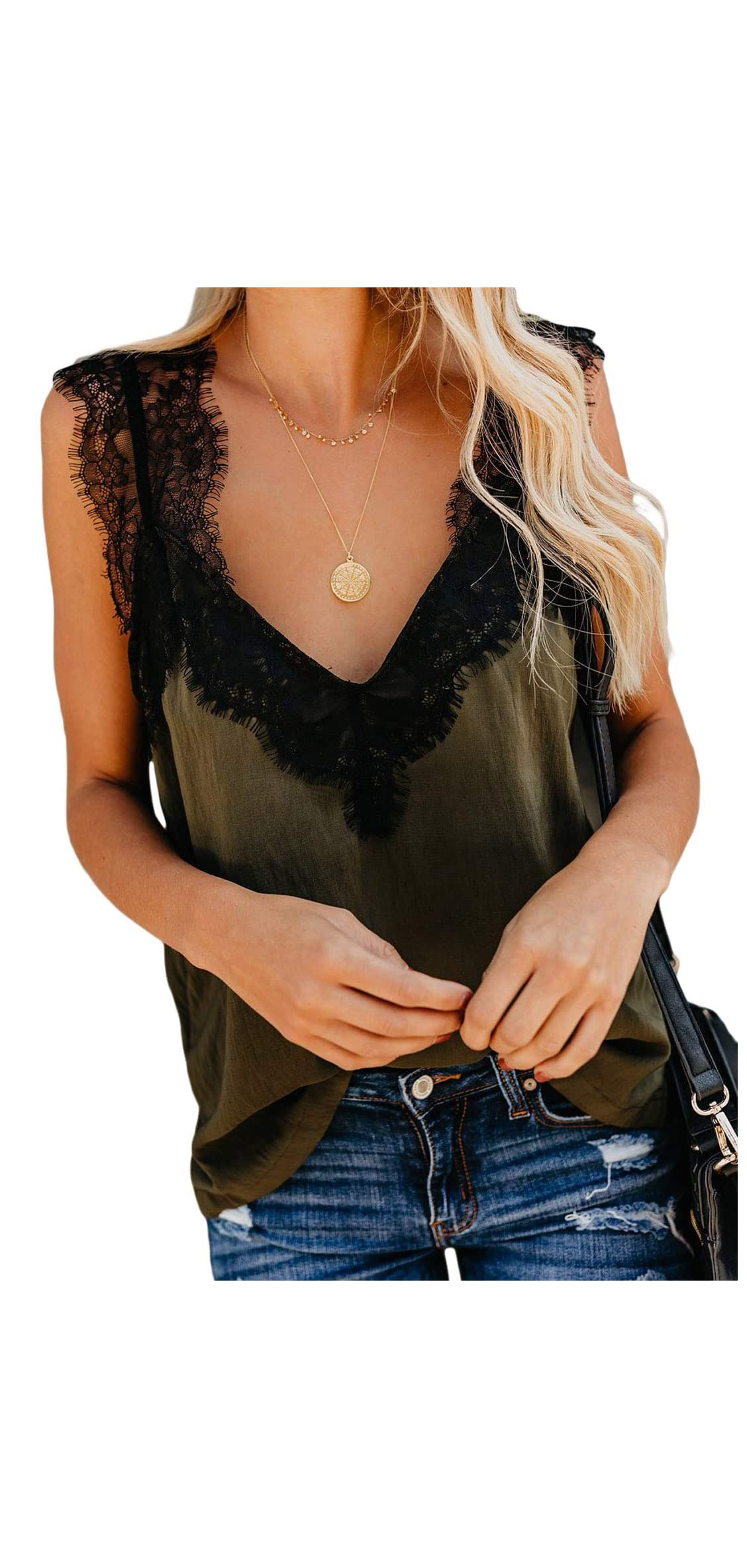 Women's V Neck Lace Trim Camisole Removable Racer